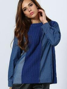 Blue Round Neck Contrast Denim Sweater