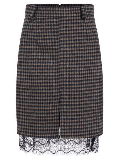 Khaki Contrast Lace Plaid Skirt