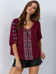 Red V Neck Geometric Embroidered Blouse