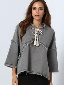 Grey Fringe Lace Up Denim Sweatshirt
