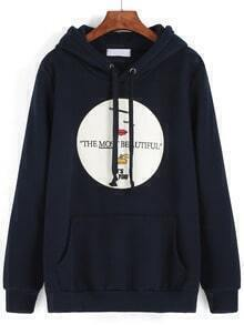 Navy Hooded Drawstring Embroidered Patch Sweatshirt