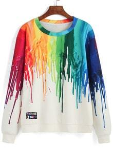 Color Round Neck Ink Print Sweatshirt