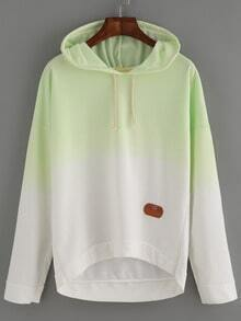 Green Hooded Drawstring Ombre Sweatshirt
