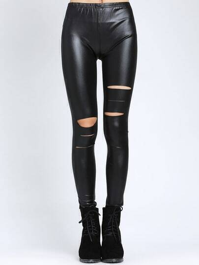 Black Elastic Waist Cut Out Slim Leggings