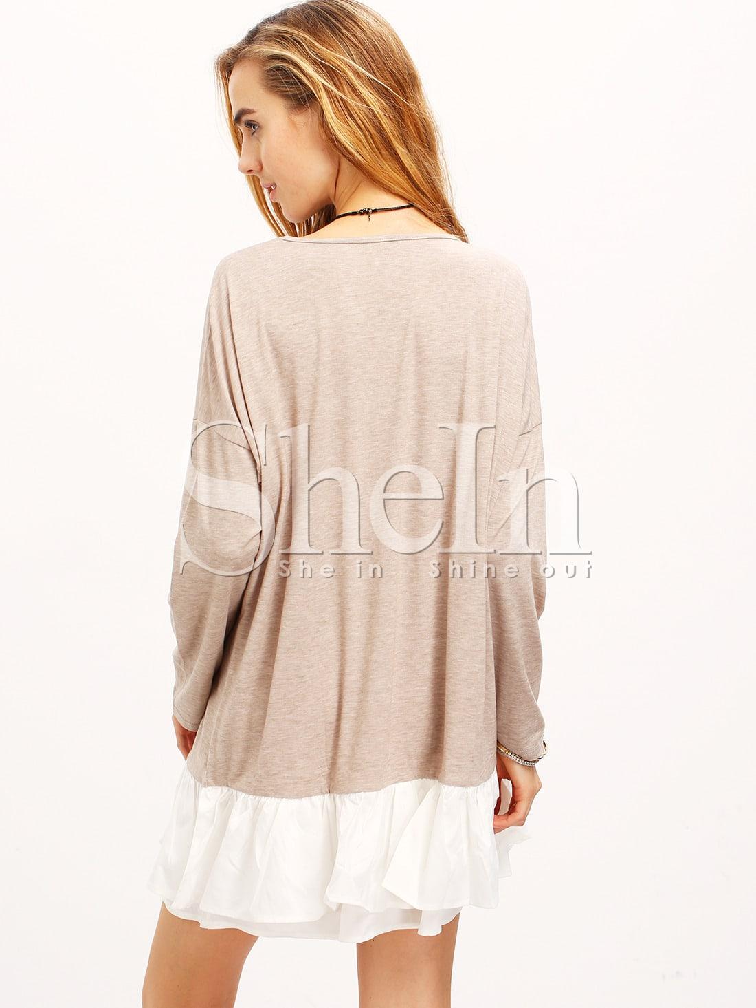 apricot neck color block dress shein sheinside