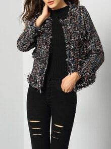 Multicolor Long Sleeve Tassel Coat