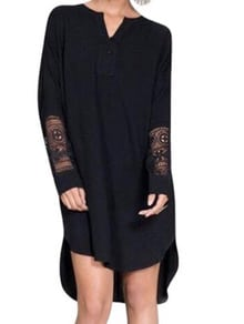 Black Round Neck With Lace High Low Dress
