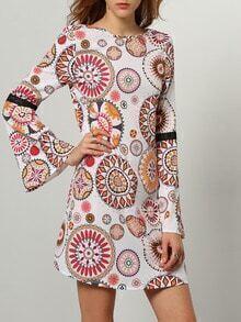 Multicolor Long Sleeve Backless Vintage Print Dress