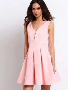 Pink Sleeveless Flare Dress