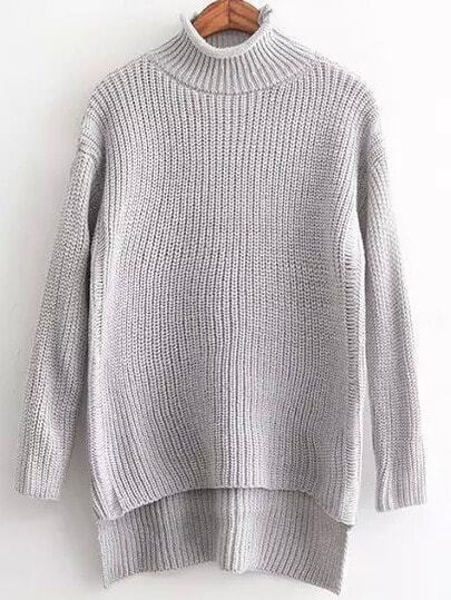 Turtleneck Dip Hem Grey Sweater