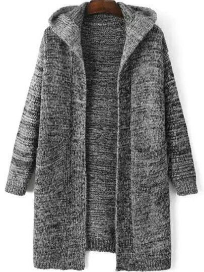 Hooded Pockets Grey Coat