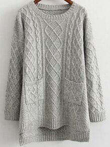 Dip Hem Cable Knit Pockets Pale Grey Sweater