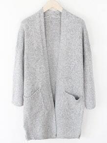 Striped Pockets Slit Pale Grey Coat