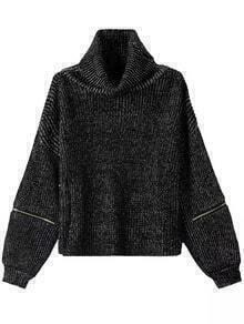 Turtleneck Zipper Loose Sweater