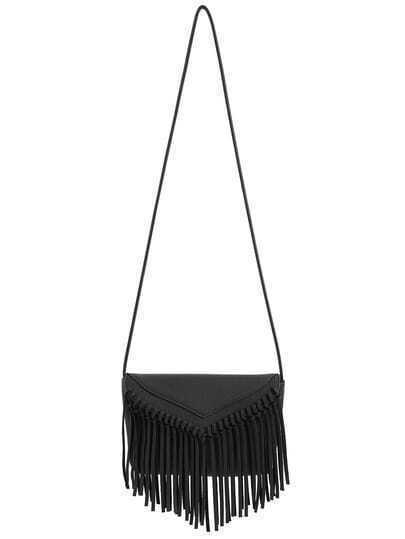 Black Tassel Zipper PU Shoulder Bag