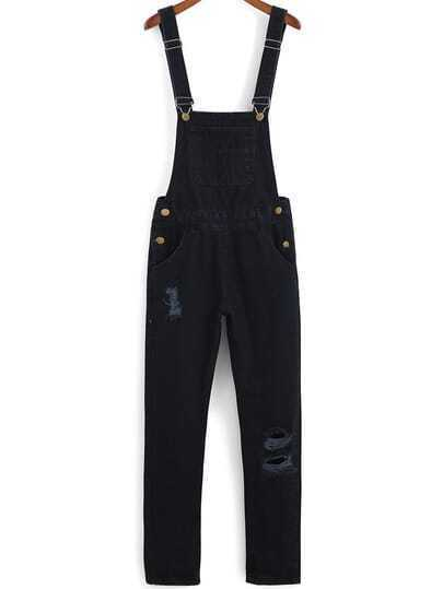 Straps Ripped Denim Black Jumpsuit