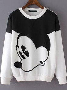 Cartoon Print Loose Sweatshirt