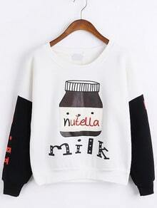 Color-block Letter Print Embroidered Sweatshirt