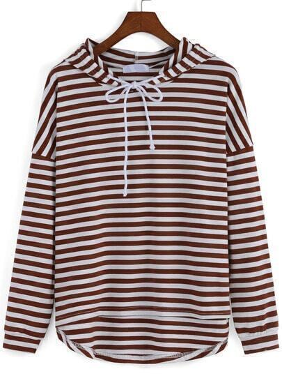 Hooded Drawstring Striped High Low Sweatshirt