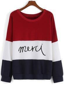 Color-block Letter Print Sweatshirt