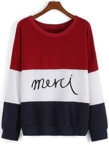 Color-block Letter Print Sweatshirt