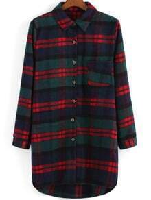 Lapel Plaid Dip Hem Woolen Coat