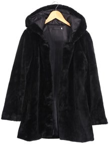 Hooded Long Sleeve Black Coat