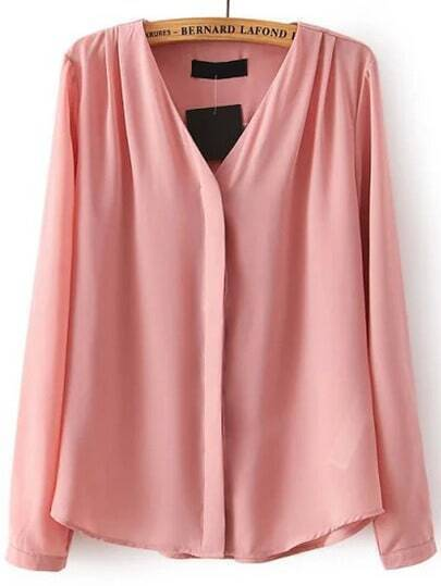 V Neck Chiffon Pink Blouse