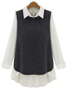 Contrast Collar High Low Blouse