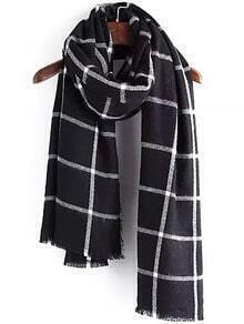 Plaid Frayed Scarf