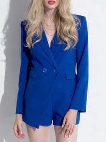 Blue Lapel Double Breasted Blazer Jumpsuit