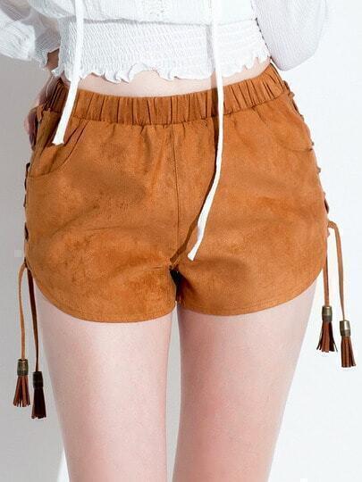 Khaki Elastic Waist Lace-up Shorts