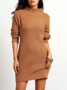 Brown Mock Neck Slim Sweater Dress