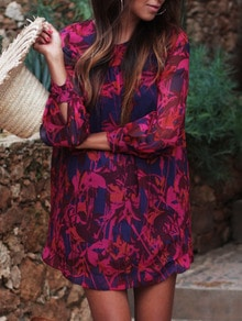 Red Blue Long Sleeve Floral Loose Dress