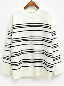 White Round Neck Striped Loose Knit Sweater