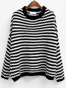 Black White Round Neck Striped Knit Sweater