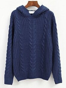 Blue Hooded Cable Knit Vintage Sweater