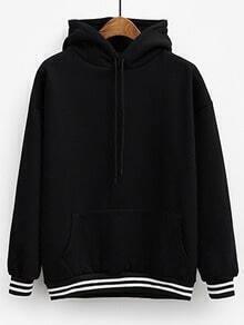 Black Hooded Long Sleeve Striped Loose Sweatshirt