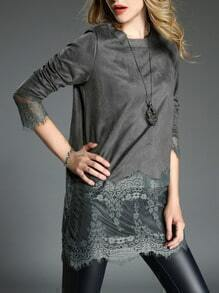 Grey Round Neck Sheer Lace Blouse