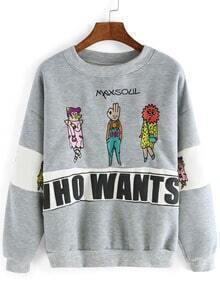 Grey Round Neck Cartoon Embroidered Sweatshirt