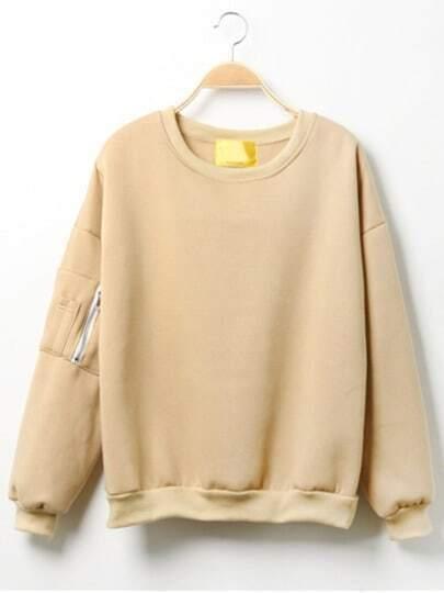 Khaki Round Neck Zipper Loose Sweatshirt