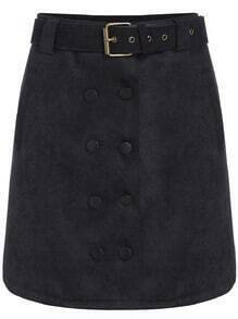 Black Double Breasted Corduroy Skirt