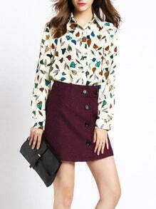 Red Slim Buttons Skirt