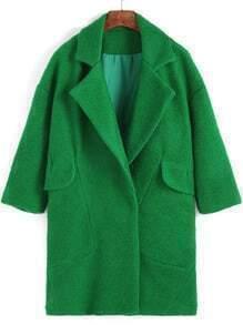 Green Lapel Loose Woolen Coat