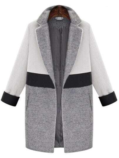 White Grey Lapel Pockets Woolen Coat