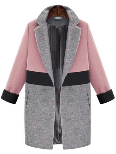 Розово-серое шерстяное пальто с карманами