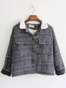 Grey Contrast Collar Plaid Pockets Coat