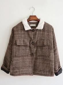 Khaki Contrast Collar Plaid Pockets Coat