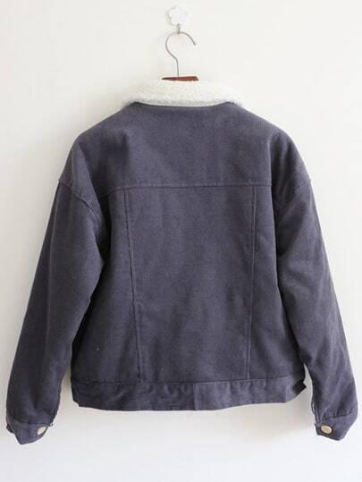 Purple Long Sleeve Cartoon Pattern Crop Coat -SheIn(Sheinside)