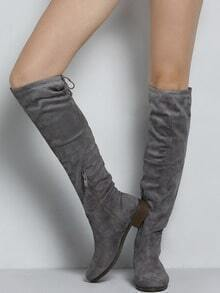 Grey Chunky Heel Zipper High Boots